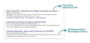 Capture d'écran des résultats de recherche sur Google faisant apparaître meta description et title